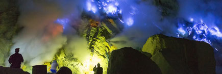 Blue fire at Ijen crater lake - also called kawah Ijen
