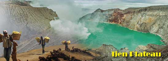Ijen crater lake in East Java, Indonesia